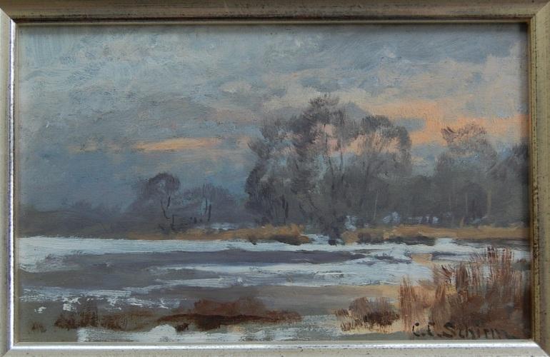 C.C.Schirm Winterabend am Lietzensee
