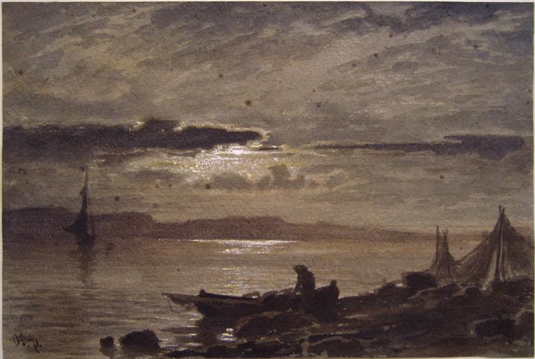 Otto Sinding Mondnacht am Fjord