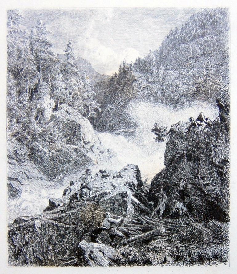 Hans Fredrik Gude Flösser bei der Arbeit