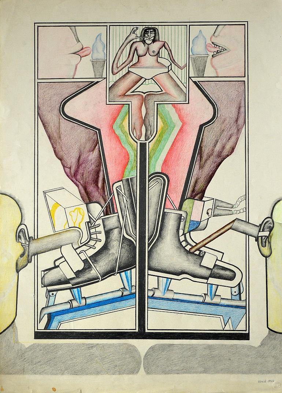 Wolfgang Petrick Traum des Schlittschuhläufers Zeichnung